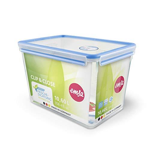 Emsa 508549 Contenitore per alimenti rettangolare con coperchio, 10,6 litri, trasparente / blu, Clip & Chiudi