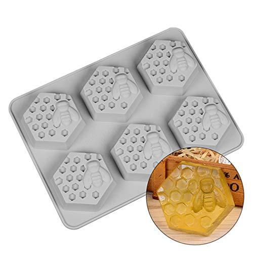 KBstore Forme de Ruche Nid d'abeille Moule en Slicone Antiadhésif avec 6 Cavités - Moule en Silicone Moules pour Muffins, Gâteau, Savon, Gelée, Pâtisserie, Cupcake