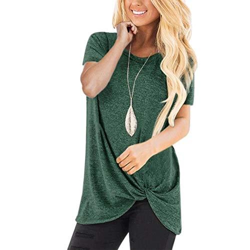 sympuk Camiseta para Mujer Camisetas de Verano concisas Camisetas de Manga Corta Camiseta Informal con Cuello Redondo Blusa para Mujer Adolescente niñas Fashion