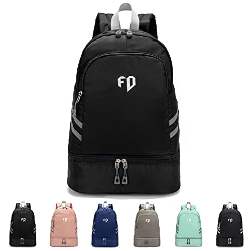 FEDUAN Sport-Rucksack Sporttasche mit Schuhfach und Nassfach Damen Herren Teenager Backpack für Fitness Gym Outdoor Camping Schule Schwimmbad Fahrrad-Rucksack Mädchen Junge Kinder schwarz