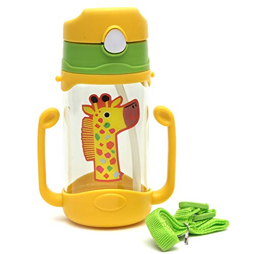Koochie-Koo Plastic One Touch Open Cute Giraffe Printed Handy Transparent Sippy Cup Bottle with Handle, Straw and Strap for Kids, Water Bottles for Toddler Boys & Girls (Yellow, 450 ml)