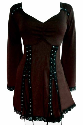 Dare to Wear Electra Corset Top: Gothic Punk Rock Steampunk Women's Plus Size Tunic Shirt for Everyday Halloween Cosplay Concerts, Walnut 1x