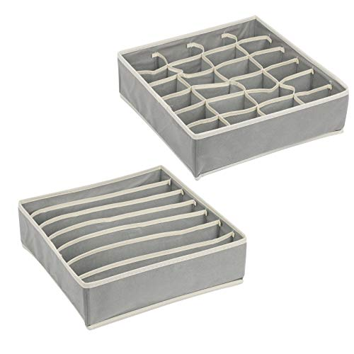 LAITER 2 Stück 24 Zellen Faltbar Unterwäsche Organizer Aufbewahrungsboxen Socken 7 Zellen Schubladenunterteilungen Unterwäsche für Büstenhalter Krawatten (Grau)