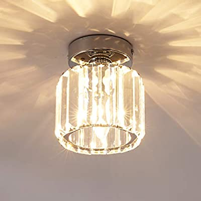 Jaycomey Mini Crystal Ceiling Light,Round Flush Mount Ceiling Light,Entryway Pendant Light for Dining Room,Bedroom,Kitchen