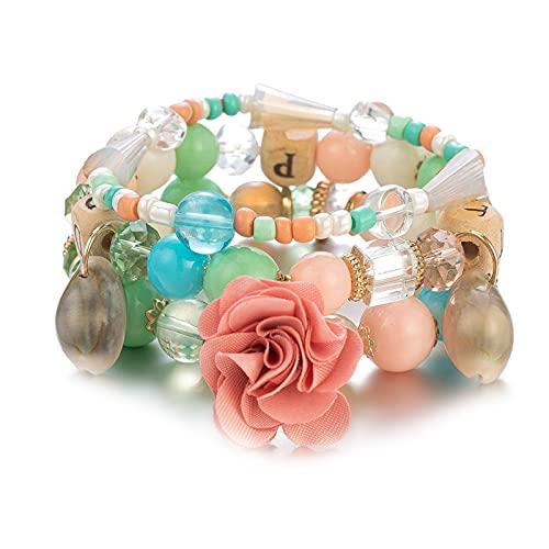 1 pulsera con cuentas de múltiples capas de colores, estilo bohemio, playa, Carolina del Norte, colgante de flores