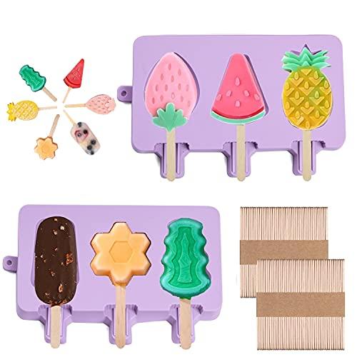 Olywee Molde para Helados, 2 moldes de silicona para polos de helado, para hacer polos de hielo, bandeja para paletas de postres congelados, con 2 tapas y 100 palos de madera