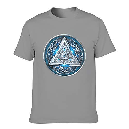 Ouniaodao Men Viking Blue Cotton T Shirt - Mythology Leisure Summer Short Sleeve Shirt Dark Gray 5XL