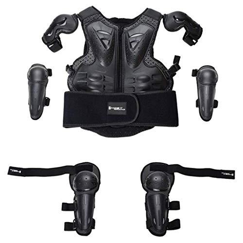 1-1 Kinderschutzbekleidung Anzug, Kinder Dirt Bike Skifahren Hockey Körperbrustwirbelsäulen Elbow Knieschützer Schutzrüstung Weste für Jungen und Mädchen,Black-OneSize