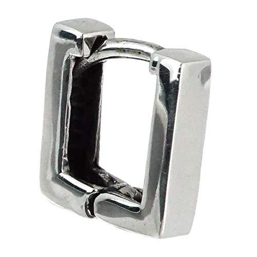 ピアス メンズ レディース ブランド シルバー 925 四角 片耳 blackdia ポリゴン フープ ピアス (シルバーA-スクエア)