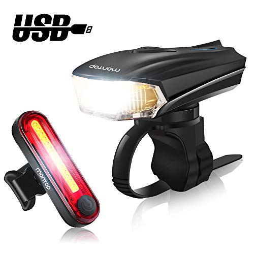 MONTOP Bike Light LED Set, LED Bicycle Lights USB Rechargeable, Waterproof Front Headlight and Rear Taillight Set, Super Bright Bike Lamp 1200mAh Li-ion Battery