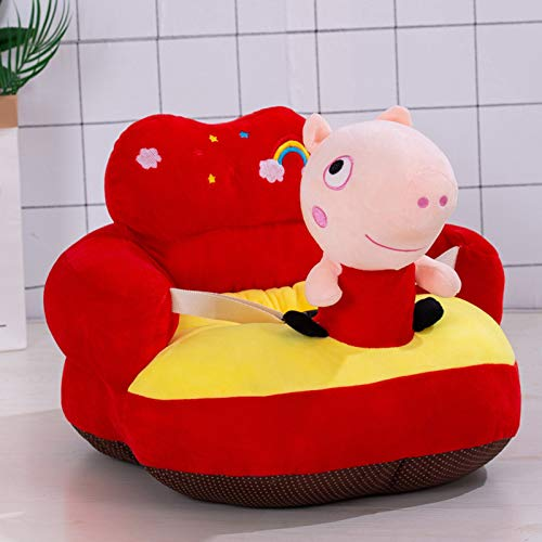 Yuui Plush Baby Sofa Cartoon Figure Soft Floor Chair Toy with Backrest & Belt for Baby Learning to Sit