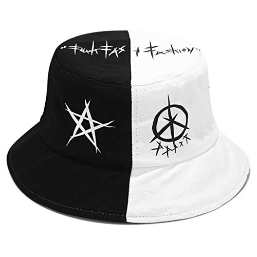 Tangpingsi Men Women Summer Black White Colour Block Bucket Hat Star Eye Graffiti Printed Patchwork Harajuku Hip Hop Outdoor Fisherman Cap