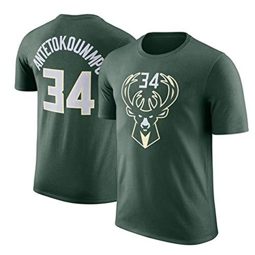 Maglietta da Uomo NBA Milwaukee Bucks Giannis Antetokounmpo # 34 Maglietta da Basket Manica Corta Sciolto Sportivo T Jersey Abbigliamento da Allenamento,Green-S