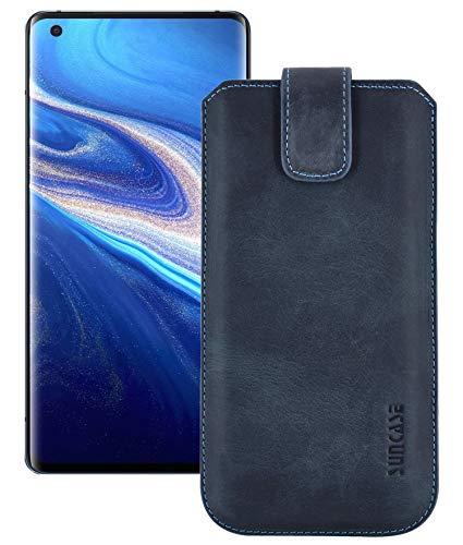 Suncase ECHT Leder Tasche kompatibel mit vivo X51 5G Hülle *Slim-Edition* Schutzhülle (mit Rückzugsfunktion & Magnetverschluss) in Pebble Blue