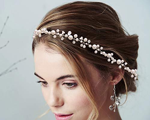 Azaleas Perle Braut Haarreifen, Strass Brautschmuck Haarband, Hochzeit Stirnbänder, Haarschmuck Tiara für Frauen und Mädchen (Silver)