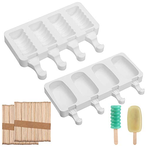 LTBLBY 2 Pack DIY Ice Pop Molds,Silicone Popsicle Molds,Homemade 8 Ice Cream Containers With 100 Wooden Sticks,Silicone Cake Pop Mold,Can Be Used For Baby Popsicle Molds For Kids