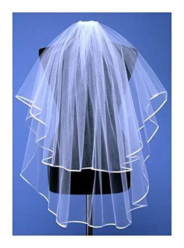 Bridal Wedding Veils Beautiful 2 Layer Elbow Edge Wedding Bridal Veil with Comb Gorgeous Bridal Tulle (Color : Ivory, Item Length : 75cm)