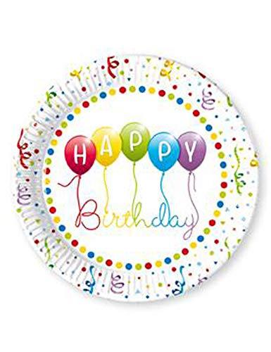 Déguisement - 8 Assiettes Happy Birthday Ballons Rainbow