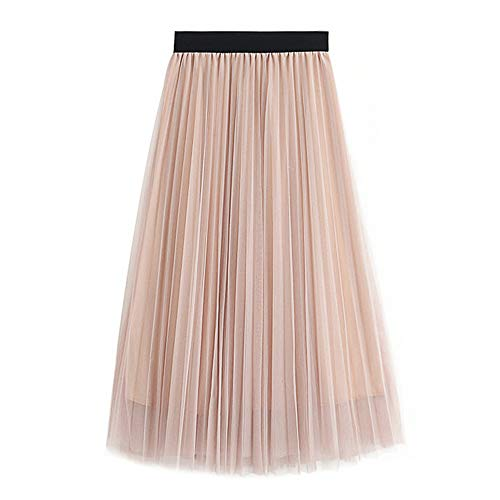 WAFA Damen Tüllrock Tüllrock Tüllrock Plissiert Maxi-Chiffon Petticoat Hohe elastische Taille Midirock Fließender großer Saum, Aprikot
