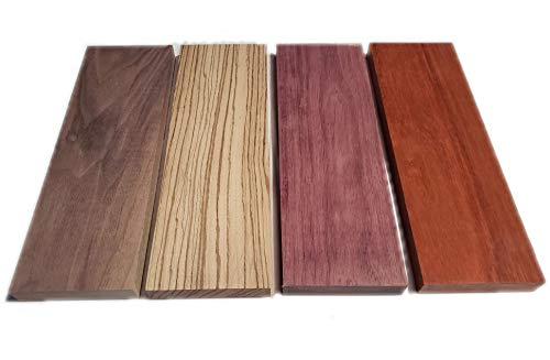 Exotic Hardwood Assortment - Mixed Species Purple Heart, Padauk, Zebrawood, Walnut