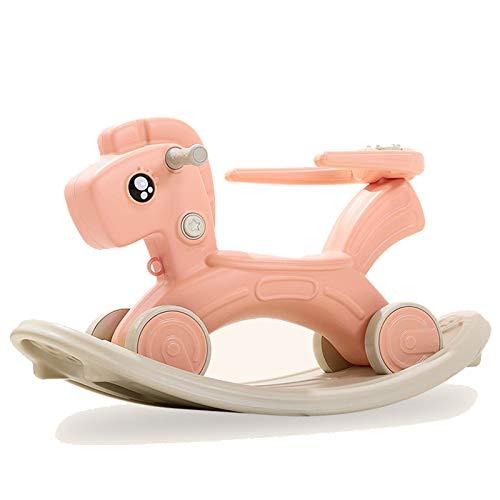 Troján para niños Rocking Horse Kids Polley Silla Multifuncional Seguridad Ride-On Juguetes con música Babys Boys Girls Beautiful Regalo,Rosado
