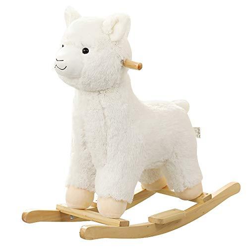 ZXJJD Baby Rocking Horse, Alpaca Llama Rocking Horse Alpaca Rocker Wooden Rocking Animal Ride for Boy and Girl Gift for Kid
