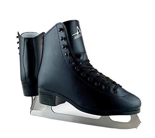 American Athletic Shoe Men's Tricot Lined Figure Skates, Black, 9 (55209)