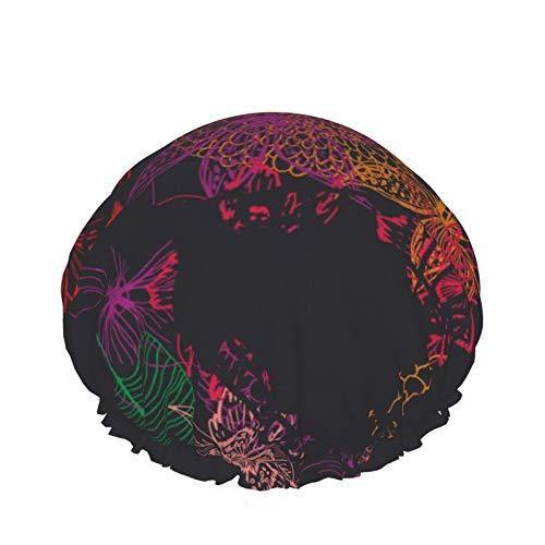 Gorro de ducha para mujer, reutilizable, impermeable, pelo largo y grueso (arte gráfico de flores de cráneo)