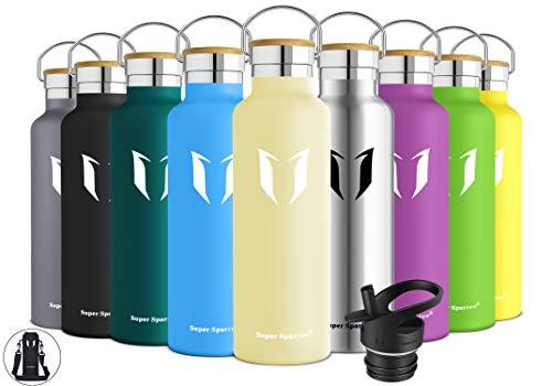 Super Sparrow Trinkflasche Edelstahl - 750ml - Auslaufsicher Thermoskanne, BPA-Frei Wasserflasche - Kohlensäure Thermosflasche für Sprudel, Sport, Uni, Schule, Fitness, Outdoor, Camping