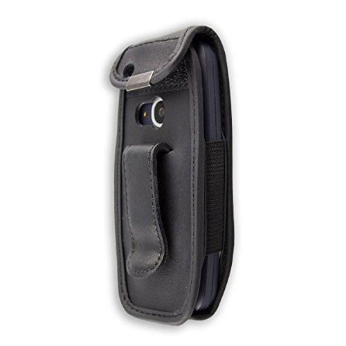 caseroxx Hülle Ledertasche mit Gürtelclip für Nokia 3310 2G (2017) aus Echtleder, Tasche mit Gürtelclip & Sichtfenster in schwarz