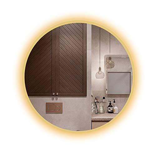 Zyfa-wandspiegel voor badkamer, met led-lampjes, verlichte spiegel, rond, make-upspiegel, badkamer