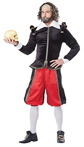 California Costumes Herren William Shakespeare - Adult Costume Kostüme für Erwachsene, Black/Red, X-Large
