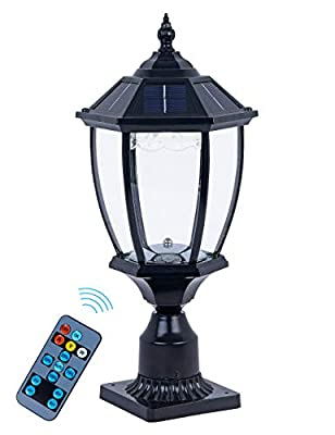 Outdoor Solar Post Light Fixture, Exterior Solar Pillar Light with Decorative Led(Warm+Cool White+Red), Cast Aluminum in Oil-Rubbed Black Finish with Clear Glass for Patio,Garden,Yard,20.5''H