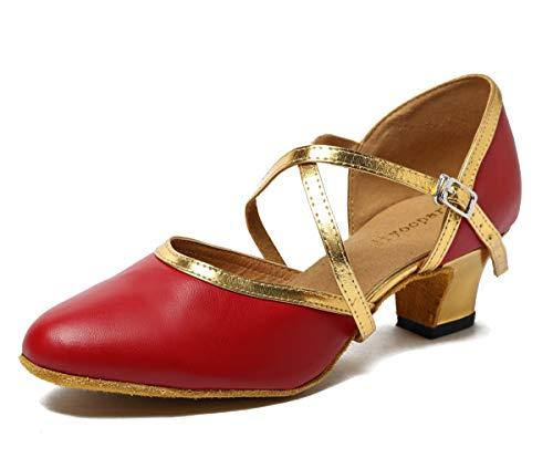 Minitoo Damen Kreuz Leder Gitarrengurt Latin Salsa Ballroom Dance Schuhe, Rot - Burgundy/Gold-5cm Heel - Größe: 35.5 / 3 UK