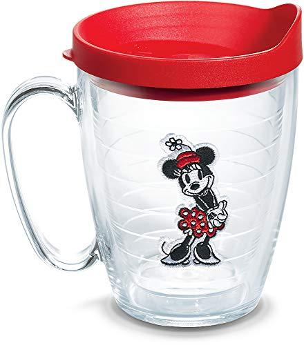 Tervis Disney - Original Minnie Insulated Tumbler with Emblem and Red Lid, 16oz Mug, Clear