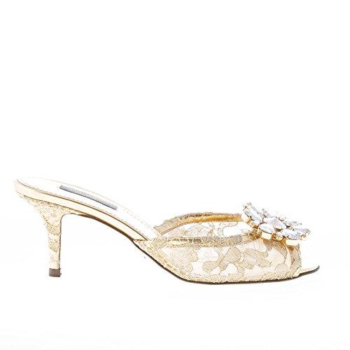 Dolce & Gabbana Donna Ciabatta in Pizzo Taormina Oro con Gioiello. Tacco 6 cm Color Oro Size 36.5