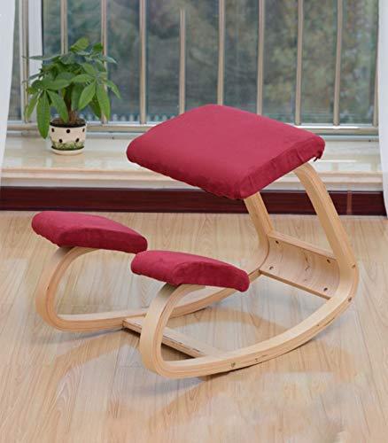 Taburete ergonómico para silla de rodillas para corrección de postura mecedora de madera, silla de ocio, para oficina, hogar, espalda, dolor de cuello, columna vertebral (rojo)