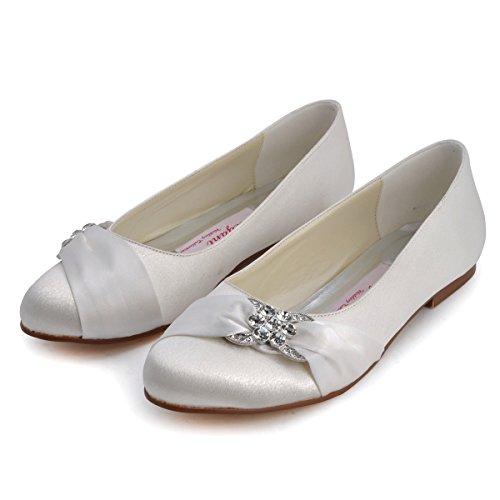 Bequeme flache Brautschuhe Ballerinas   Ivory - 5