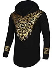 Pacinoble Mens African Dashiki Shirt Metallic Floral Printed Slim Fit Long Sleeve V Neck Shirts Blouse