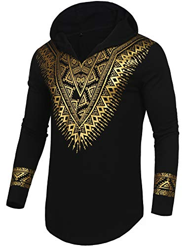 Pacinoble Mens Dashiki African Tribal Clothing Printed Long Sleeve Shirt Traditional Ethnic Slim Fit Outfit Plus Size (Black XL)