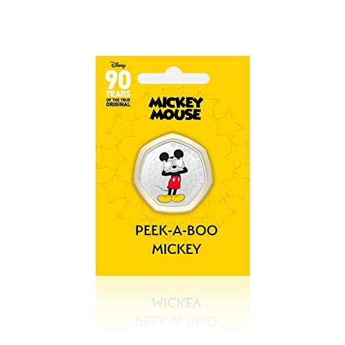 IMPACTO COLECCIONABLES Disney 90 Aniversario de Mickey - Peek-A-Boo - 50p Silbersammelmünze in Form Einer 50-Pence-Gedenkmünze