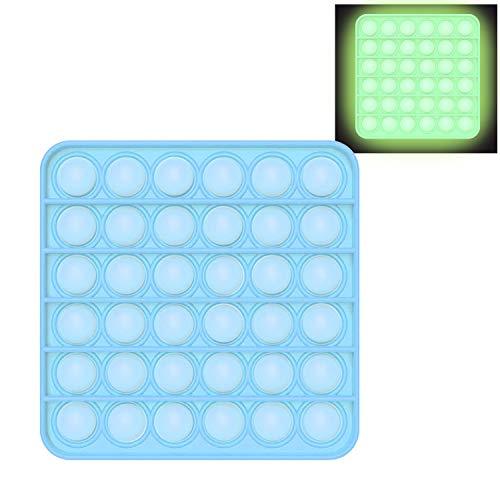 EUROXANTY Juguete sensorial Burbujas Pop   Fidget Toy   Antiestrés   Juego Entretenimiento   Lavable   Motricidad Fina   Fluorescente Cuadrado   Azul