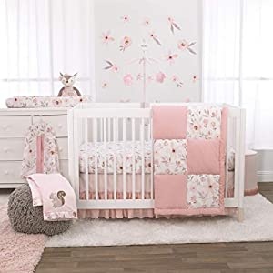 NoJo Countryside Floral – Pink, Grey & White 4Piece Nursery Crib Bedding Set, Comforter, Fitted Crib Sheet, Dust Ruffle, Diaper Stacker, Pink, Peach, White, Grey