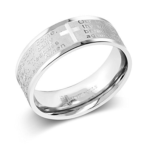Gem Stone King 8MM Men's Stainless Steel Bible Christian Lord's Prayer Cross Wedding Band Engraved Ring