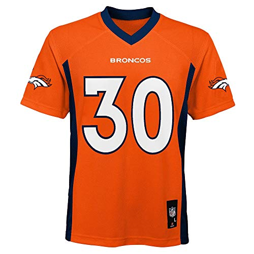 Outerstuff Phillip Lindsay Denver Broncos Orange Youth 8-20 Home Mid Tier Jersey (Medium 10/12)