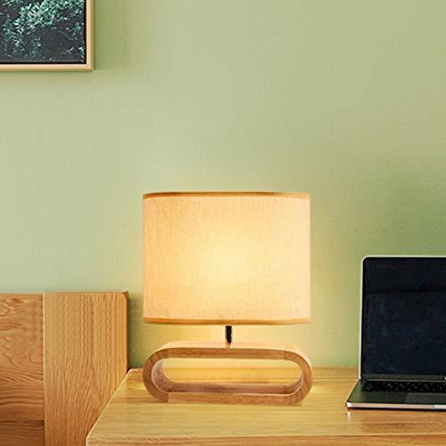 Lámpara de mesa con base de madera nórdica de tela de la pantalla de la lámpara de la mesa de la sala de estar, dormitorio, mesita de noche, lámpara de lectura de luces de accesorio