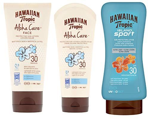 HAWAIIAN Tropic Aloha Sport Care, Solar Spf 30 Sin Oxibenzona + Facial Spf 30 Sin Obstrucción de Poros + Loción Solar Deportiva Spf 0 Antisudor, Crema, 3 Unidades