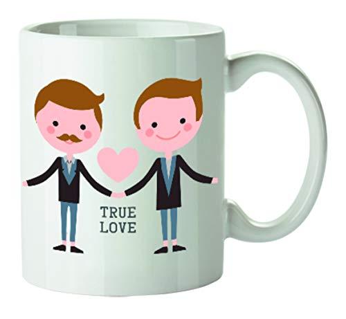Kembilove Tazas de Desayuno para Parejas – Taza de Café con Dibujo y Frase Original True Love Hombres para Enamorados – Tazas para Regalar el día de los Enamorados – Regalos Originales San Valentín