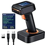 Tera 1D 2D QR Barcode Scanner Wireless with Display Screen, Charging Base, Works