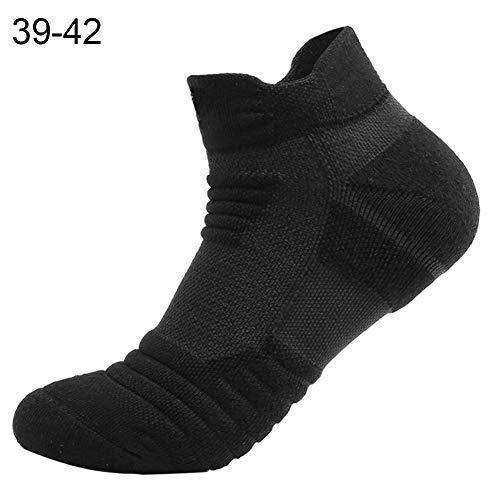 Sanwood Les chaussettes courtes respirantes épaississent des chaussettes de couleur unie pour les hommes qui exécutent le basket-ball de football Black 39-42